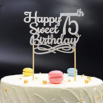 Silver Happy Sweet 75th Birthday Cake TopperSilver Paper Topper Party