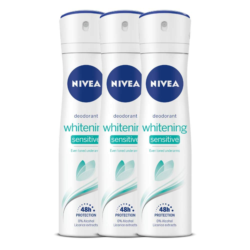 NIVEA Whitening Sensitive 48 Hours Gentle Care Deodorant, 150ml (Pack of 3)