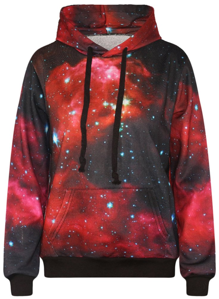 Imilan Neon Galaxy Sweatshirt Hoodies Printed Jacket (Small/Medium, Red Space) by Imilan