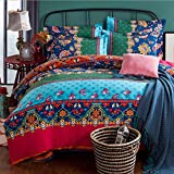 Alicemall Ethnic Bedding Colorful European Country Style Vintage Flower and Plaid Prints Sheets Set 100% Cotton Super Soft 4 Pieces Boho Duvet Cover Set, Queen / King Size (Queen/King, Blue & Green)