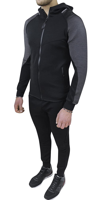 Evoga Herren Trainingsanzug Schwarz schwarz Small