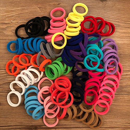 XIMA 60pcs Nylon Elastic Hair Ties Hair Ties Bands Rope No Crease Elastic Fabric Large Cotton Stretch Ouchless Ponytail Holders (60pcs-Mix 20colors(HT007)) Fabric Hair Bands