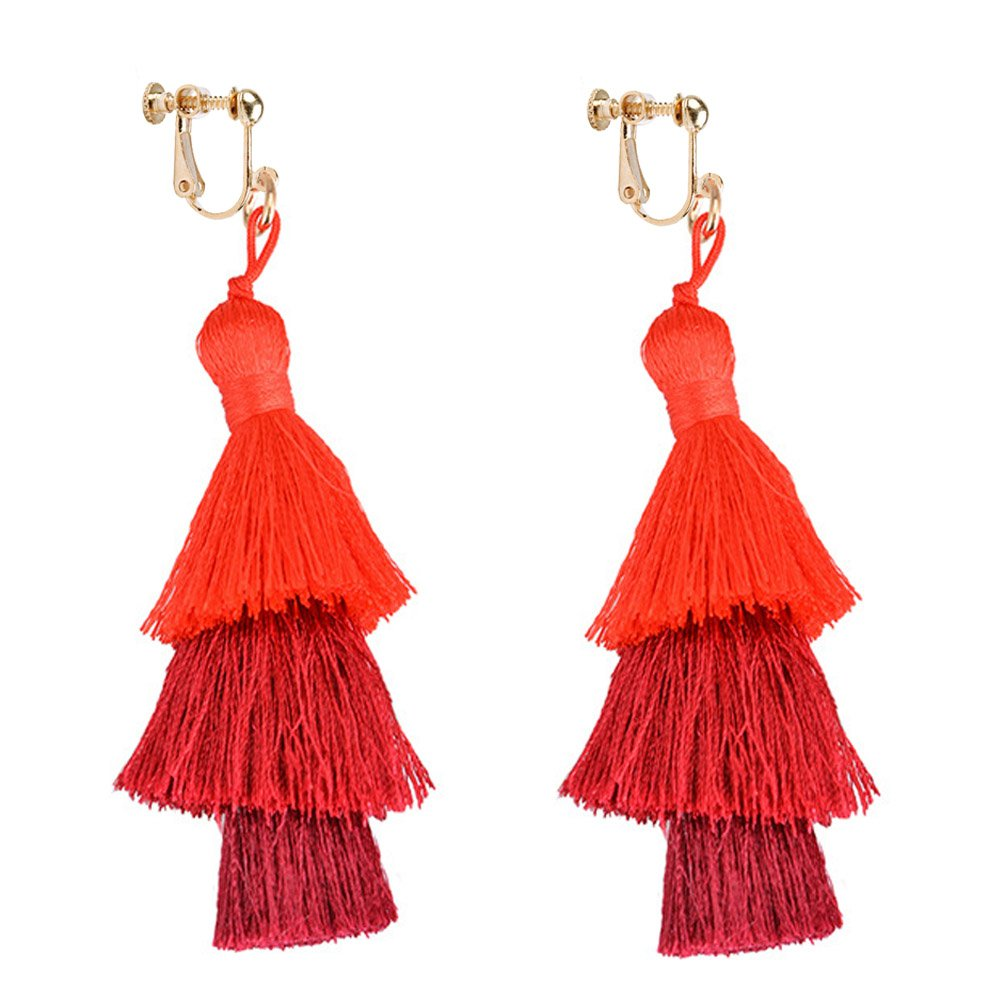 Dangle Earring Clip on Screw Back Layered Long Tassel Thread Bohemia for Women Banquet Red
