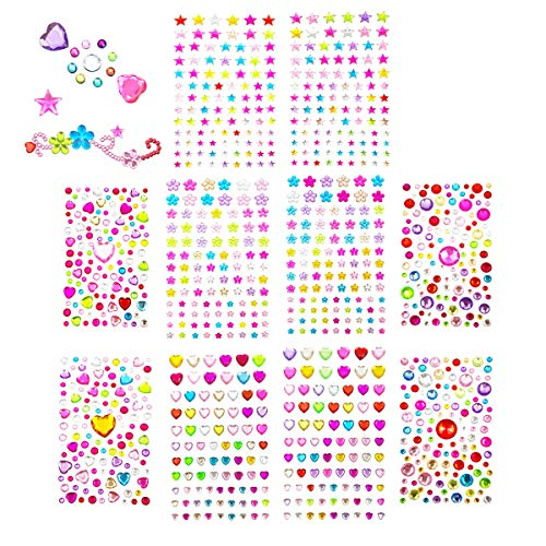 Rhinestone Stickers, GoFriend Self- Adhesive Rhinestone Stickers Bling Craft Jewels Crystal Gem Stickers for Nails, Makeup, DIY Crafts, Gift Decoration Embellishments- Assorted Size & Shape, 10 Sheets ()