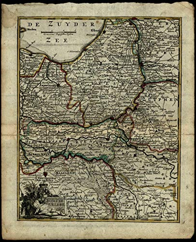Netherlands Gelderland Dutchy river god c.1786 Gravius de Lat old rare map ()