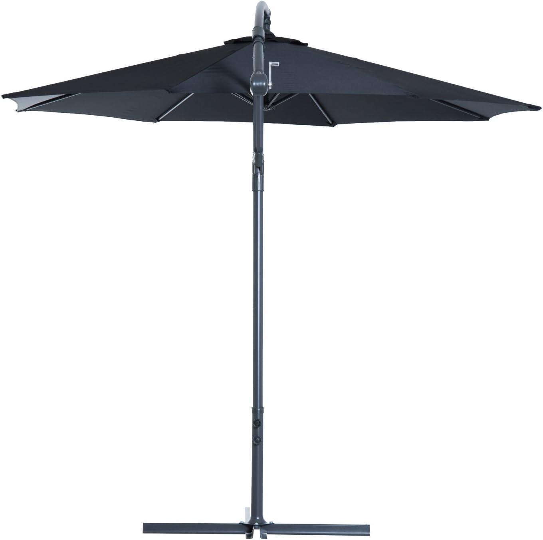 Di/ámetro x Alto Outsunny Sombrilla Reclinable de Jard/ín o Patio Parasol para Exterior Blanco Acero y Tela de Poli/éster 180g//㎡ /Φ3 x 2.6m