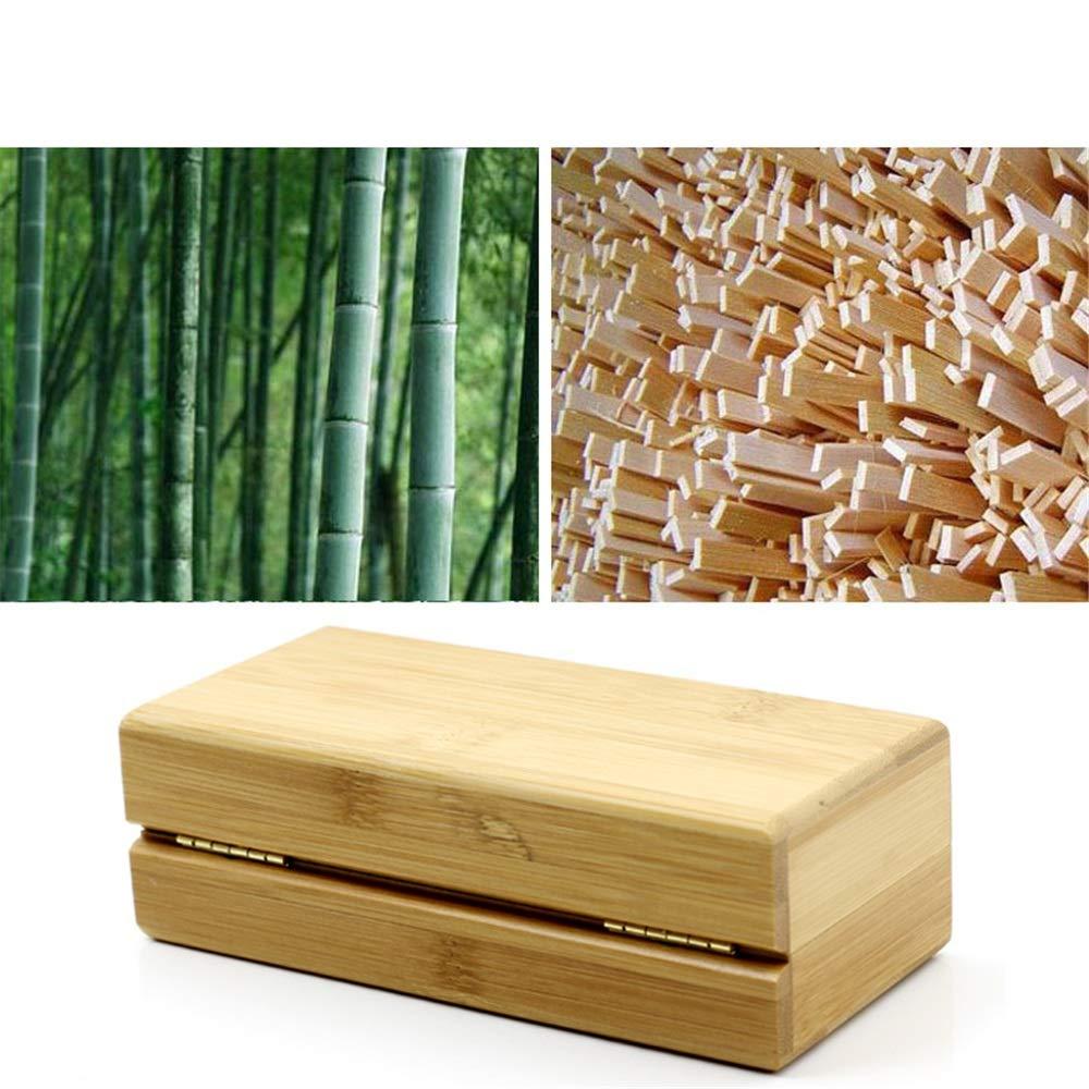 Yzibei Brillenetui Sonnenbrillenetui tragbare Reise Bambus und Holz Brille Box Flip Brillenetui Exquisite mehrschichtige Brillenetui Geschenk