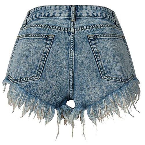 Elastici Blu Donne Vita Denim Alta Pantaloncini Pants Hot Jeans qp8prawX