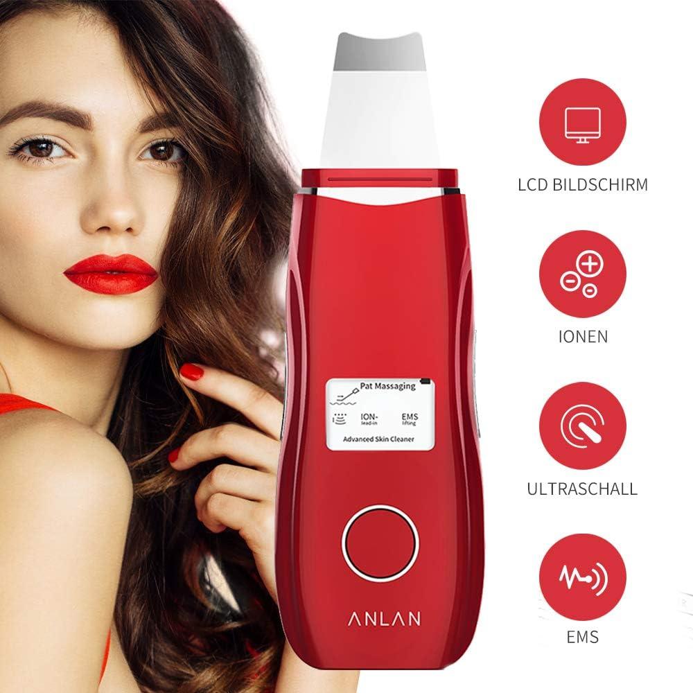 Peeling Ultrasónico Facial con 5 Modos, LCD Pantalla, USB Recargable de ANLAN
