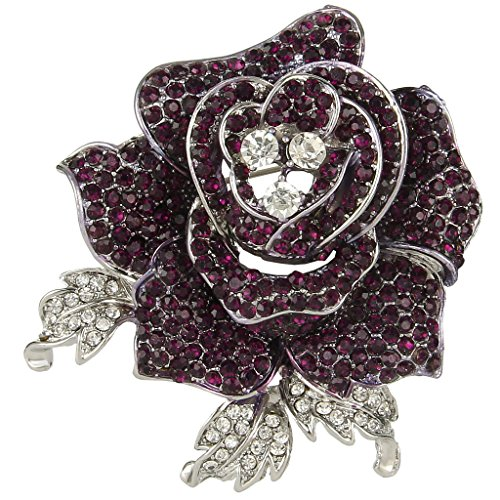 EVER FAITH Women's Austrian Crystal Blooming Beautiful Rose Flower Brooch Purple w/Clear Silver-Tone (Brooch 3 Stone)