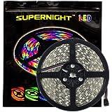 SUPERNIGHT 16.4ft 5050 300leds Waterproof RGBW LED Strip Flexible Light - Black Roll