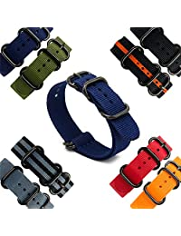 CIVO Heavy Duty G10 Zulu Military Watch Bands NATO Premium Ballistic Nylon Watch Strap 5 Black Rings with Stainless Steel Buckle 20mm 22mm 24mm (navy blue, 20mm)