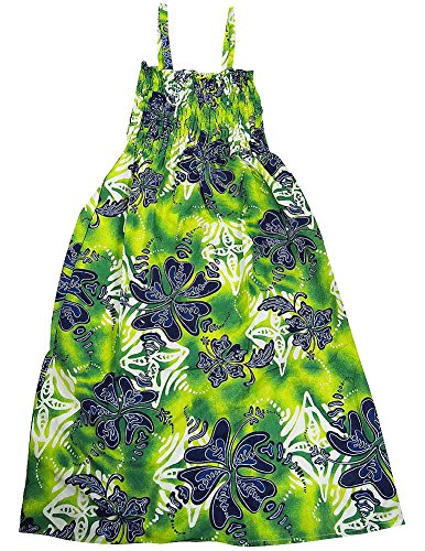 Private Label Active - Ladies Long Woven Floral Print Coverup/Sundress, Green, Navy (Print Ups Return Label)