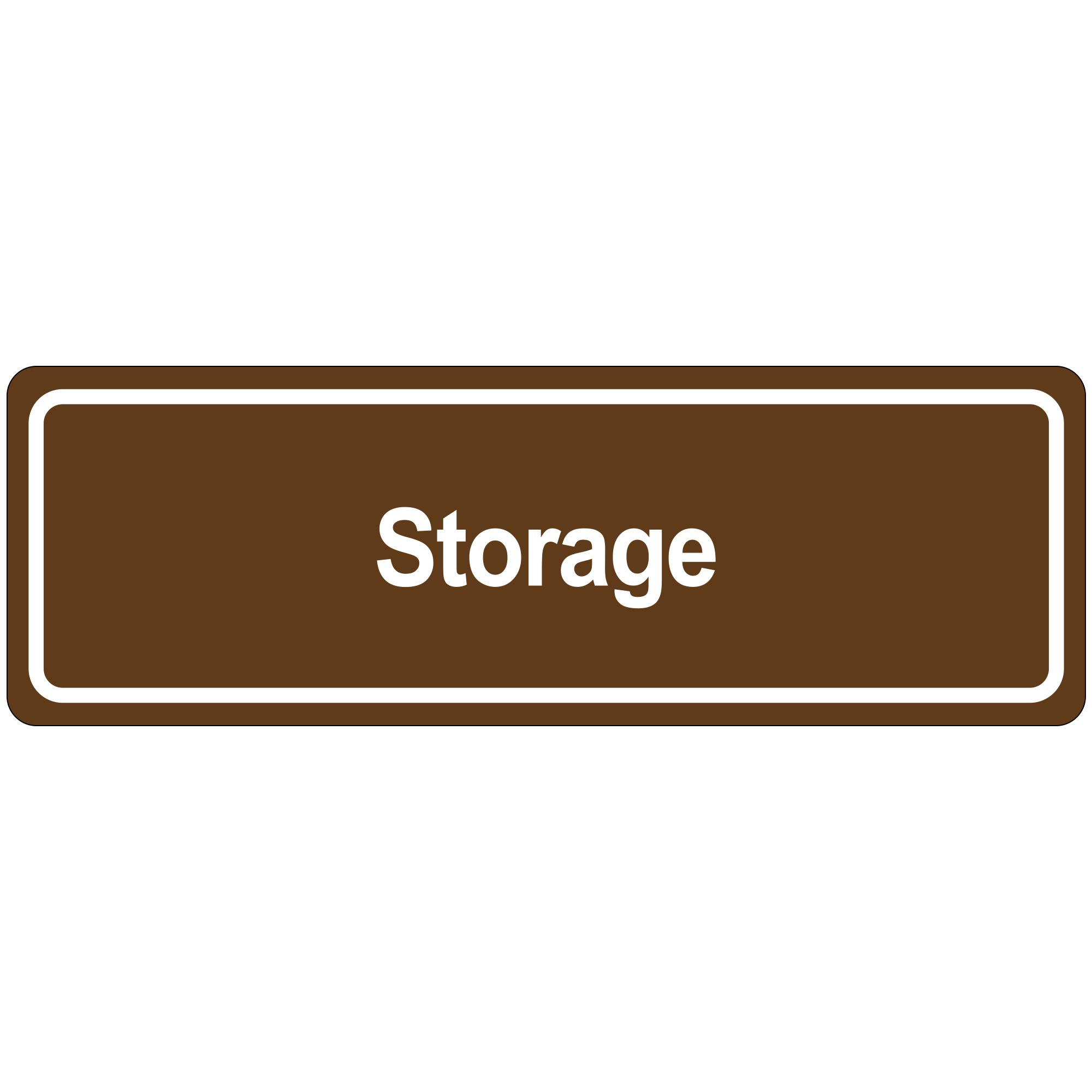 ''Storage'' Door Sign, 3'' x 9'', Brown, 1/Each