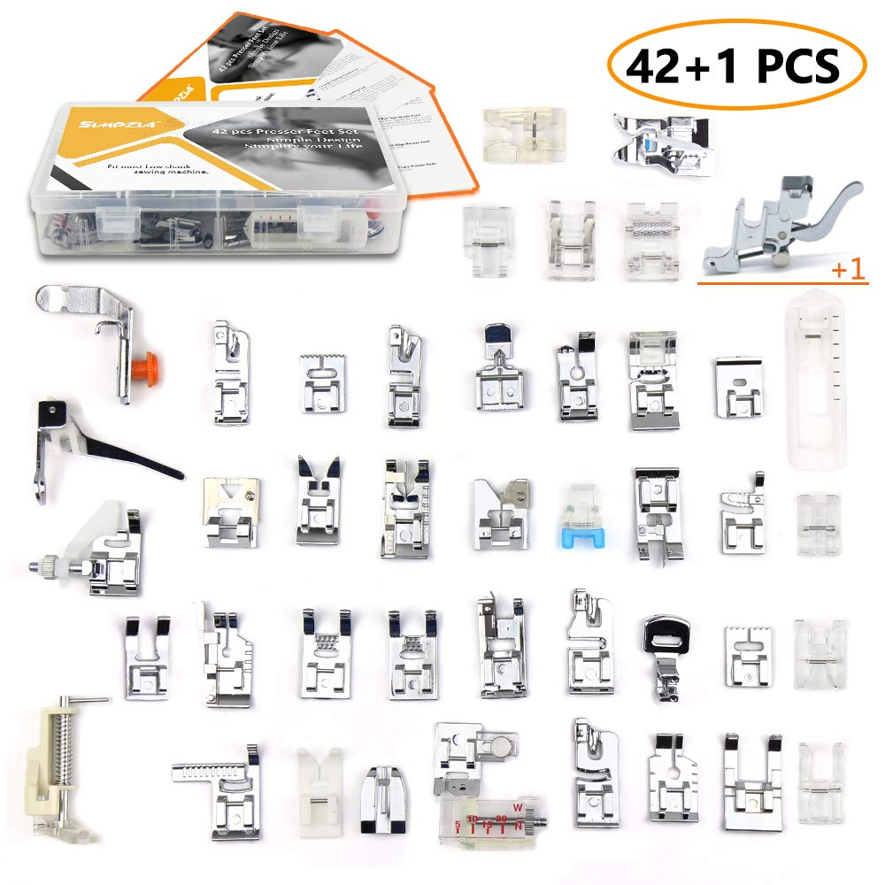 42 pcs Presser Feet Set with Manual & Adapter SIMPZIA Sewing Machine Foot Kit Compatible with Brother, Babylock, Janome, Singer, Elna, Toyota, New Home, Simplicity, Necchi, Kenmore, White (Low Shank) by SIMPZIA