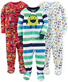 Simple Joys by Carter's Baby Boys' 3-Pack Snug Fit Footed Cotton Pajamas, Monsters/Dino/Construction, 4T