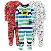 Simple Joys by Carter's Boys' 3-Pack Snug-Fit Footed Cotton Pajamas, Monsters/Dino/Construction, 6-9 Months