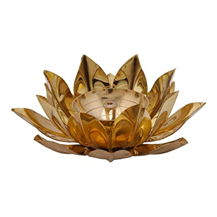 DreamKraft Brass Lotus Kuber Diya With Glass Base For Puja Home Décor-5 Inch