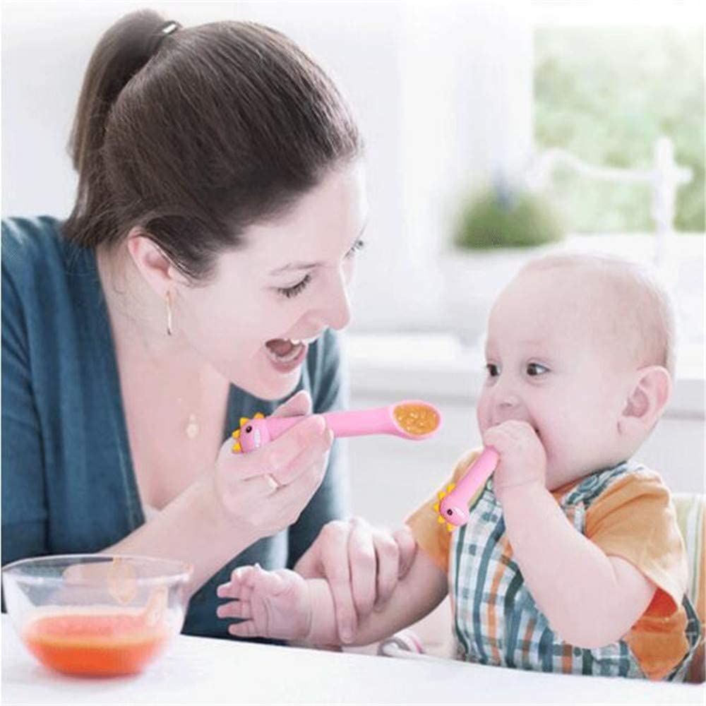 N\A Baby Feeding Fork Spoon Set,Cartoon Soft Baby Silicone Cutlery Sets,For Baby Mealtime and Self Feeding Training blue