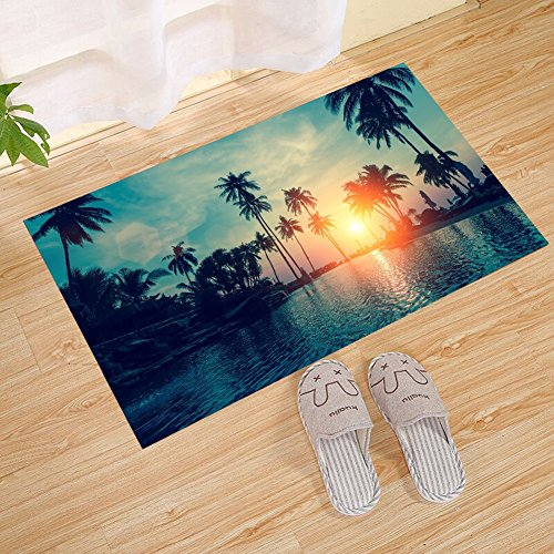 JANNINSE Tropical Beach Sunset Palm Tree Hotel Pool Beach Ch