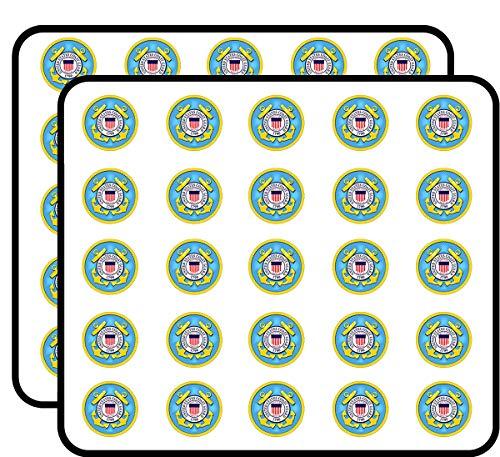 Round U.S. Coast Guard Seal (us Logo Vet Veteran) Sticker for Scrapbooking, Calendars, Arts, Kids DIY Crafts, Album, Bullet Journals