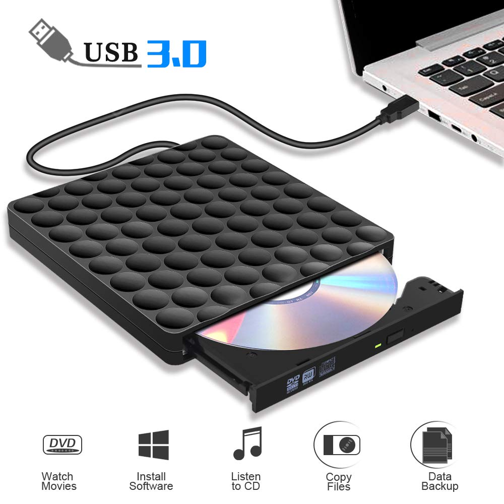 External CD Drive USB 3.0 Burner CD/DVD +/-RW Drive External DVD Drive Rewriter Burner External CD/DVD Drive for Laptop/Desktop/Windows/Linux/Mac OS