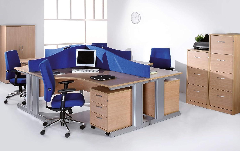 Mr Office Mobile 3 drawer pedestal with silver handles 600mm deep walnut