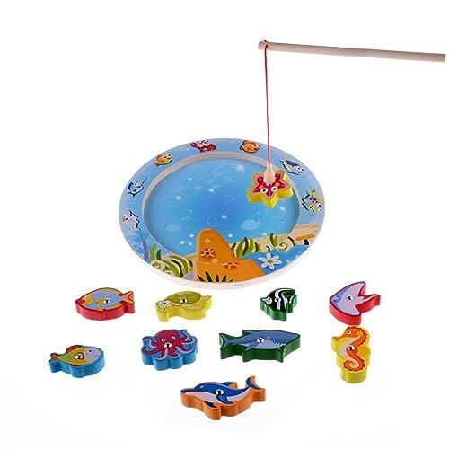 10-Piece Fishes Educational Development Basic Bois Pêche magnétique Voyage Bath Table de jeu, jouets de cadeau d'anniversaire pour l'âge 3 4 5 Ans Enfant Enfants Bébé Garçon Fille Toddl