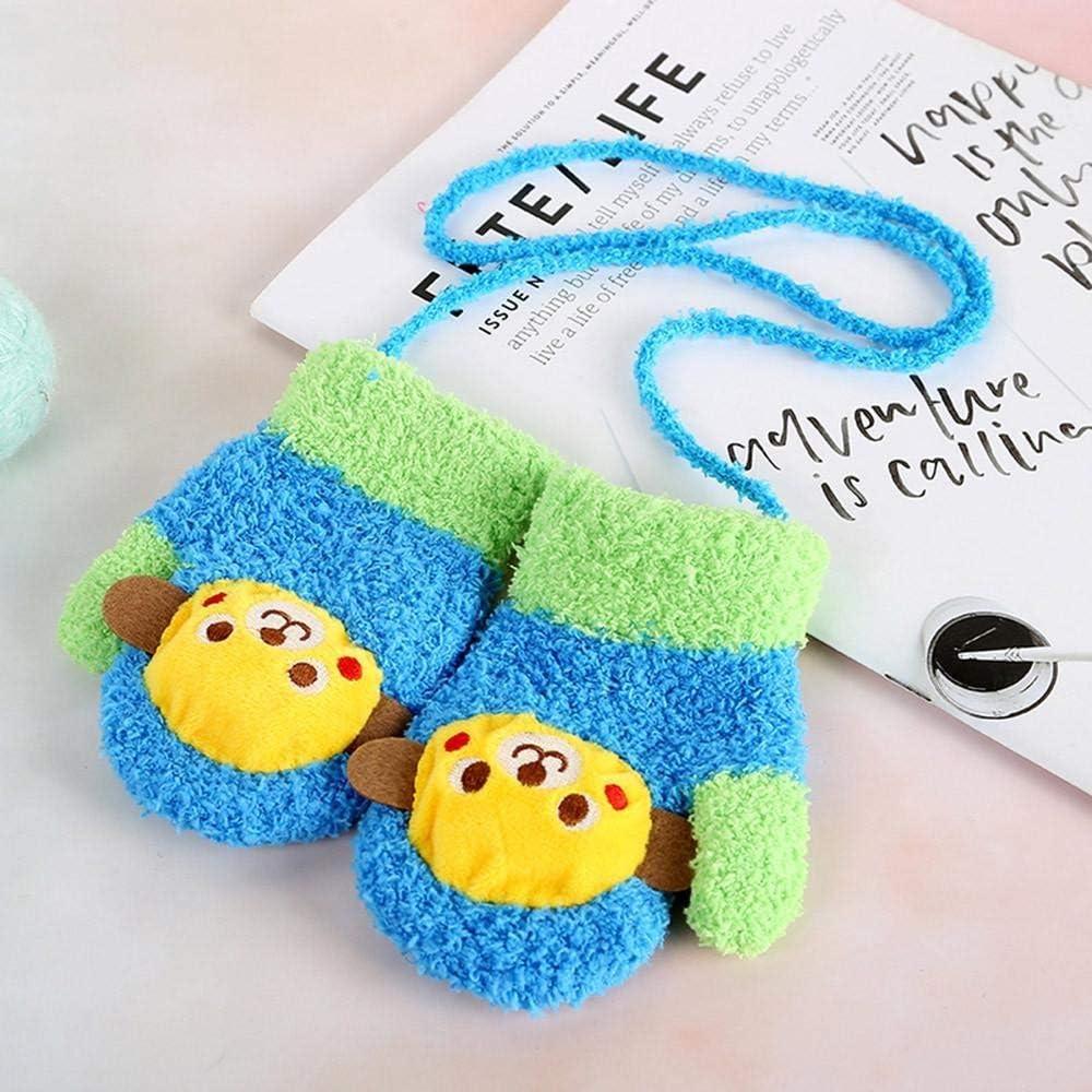 Girls Gloves SHOBDW Kids Boys Cute Thicken Cartoon Flower Hot Winter Warm With Rope Gloves Toddler Baby Gifts