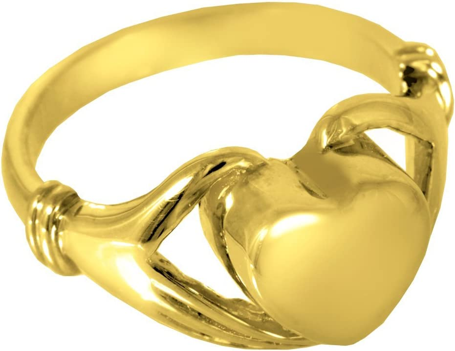 Memorial Gallery 2002gp-10 Heart Ring 14K Gold//Sterling Silver Plating Cremation Pet Jewelry