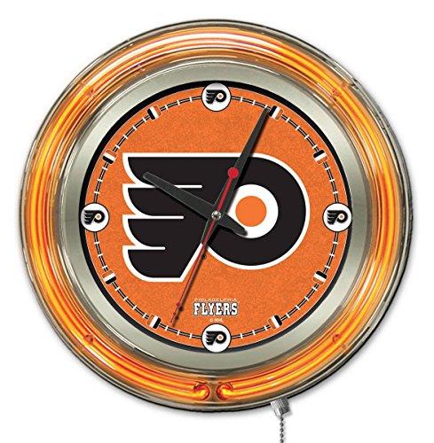 "Holland Bar Stool Co. Philadelphia Flyers HBS Neon Orange Hockey Battery Powered Wall Clock (15"")"