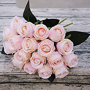 XGM GOU 18 Head, Bride Hand Holding DIY Wedding Artificial Flowers Rose Bud Heads Fake Roses Bouquet Flowers for Home Decoration Wedding 16