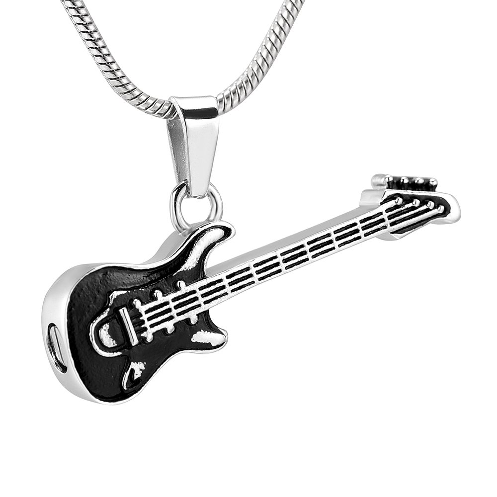memorial jewelry Musical Instrument Cremation Necklace for Women&Men Glass Guitar Urn Necklace for Ashes