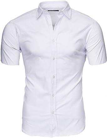 Kayhan Camisas Hombres Camisa Hombre Manga Corta Ropa Camisas de Vestir Slim fácil de Hierro Fit SML XL XXL-6XL - Modello Caribic