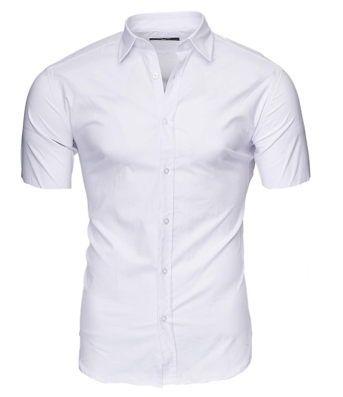 TALLA XL. Kayhan Hombre Camisa Manga Corta Slim Fit S-6XL - Modello Caribic