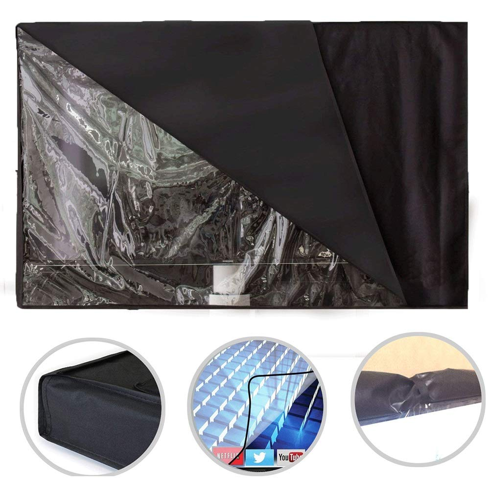 Patio Furniture Set Covers Outdoor Waterproof Weatherproof TV Cover, Black Common Protector for TV LED LCD, Compatible with Most Cradles Built-in Remote Control Storage (Size : 55''-58'')