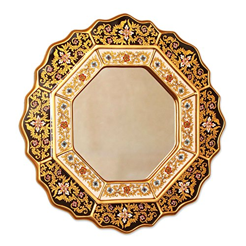 NOVICA Black and Gold Floral Reverse Painted Glass Wall Mounted Mirror, Black - Sun Mirror Golden