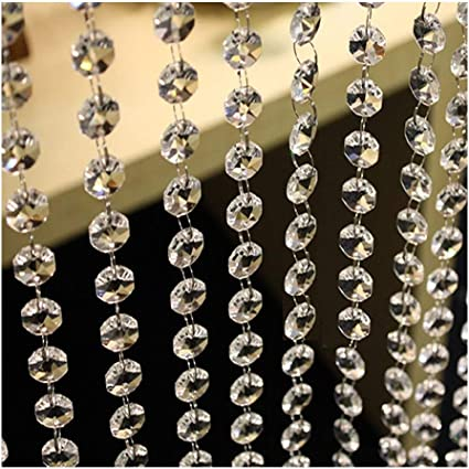 Christmas//Wedding Party Decoration and DIY Craft Jewelry Decoration 33 Feet Hanging Clear 14mm Daimond Acrylic Crystal Garland for Manzanita Tree Centerpiece Chandelier Bead Lamp Chain