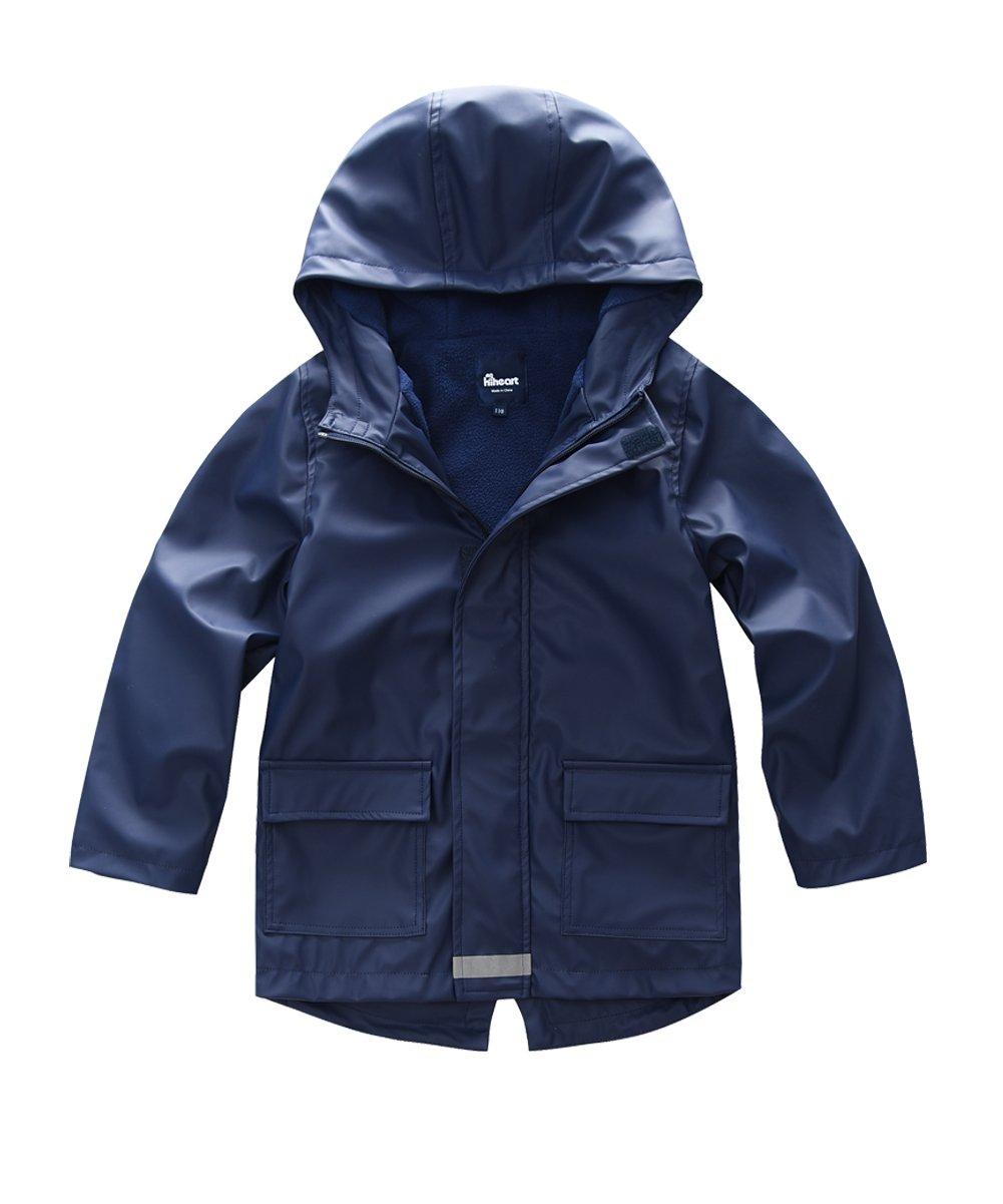 Hiheart Boys Waterproof Rain Jacket Fleece Lined Softshell Coat Navy 7/8