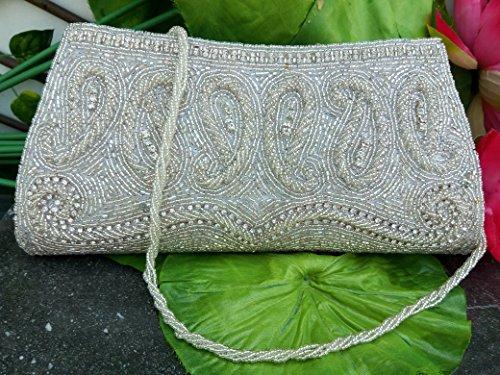 Beaded Pearl Clutch Bag, Vintage Bridal Clutch, Handmade Wedding Clutch, White Clutch Bag, Beaded Clutch Bag, Indian Wedding Purse, White Purse