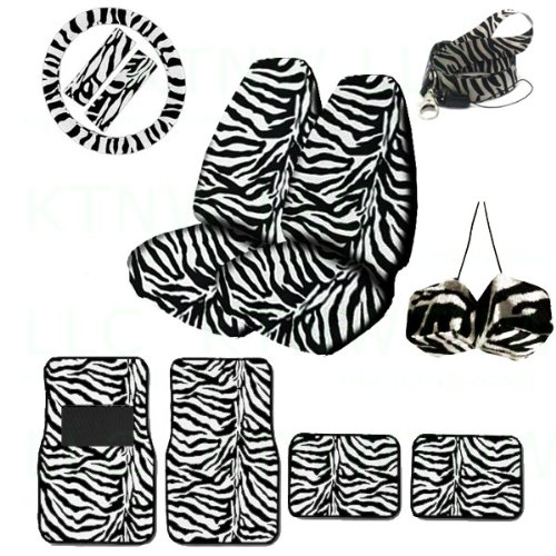 A Set of Animal Print Front and Back Floor Mats, 2 High Back Seat Covers, Wheel Cover, 2 Shoulder Pads, Hanging Dice and Lanyard Key Chain - Zebra White - Zebra White