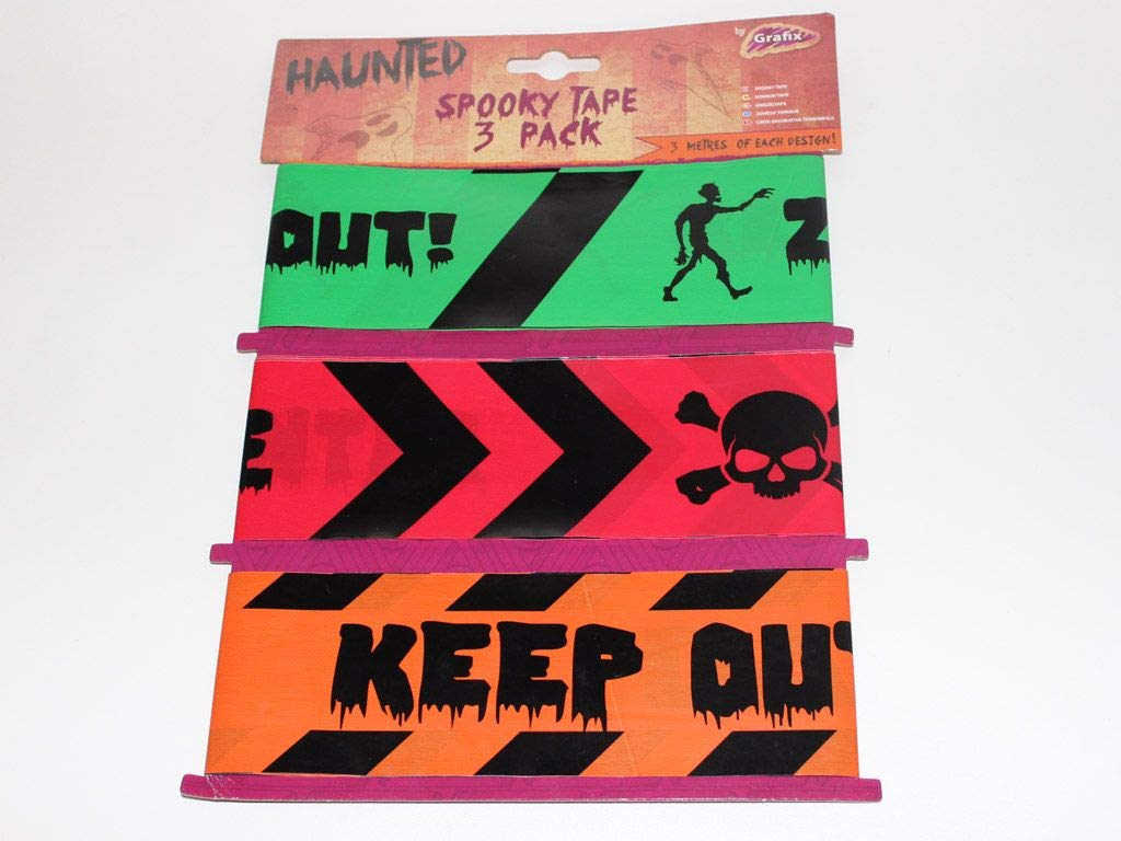Grafix Halloween Door Decorations - Spooky Fright Tape for Halloween - 3 pack of Tape - 3m of each design
