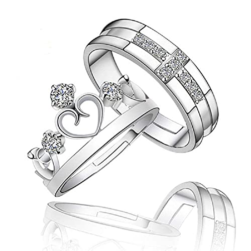 6b335f8b8afe8 h5_jc 1 Pair Prince Princess Couple Rings Silver His and Her Promise ...