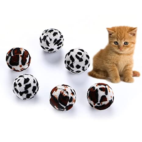 0Miaxudh 5 Unids Gato de Juguete, Gato Gatito Divertido Zebra-Raya Leopard Ball Jugar