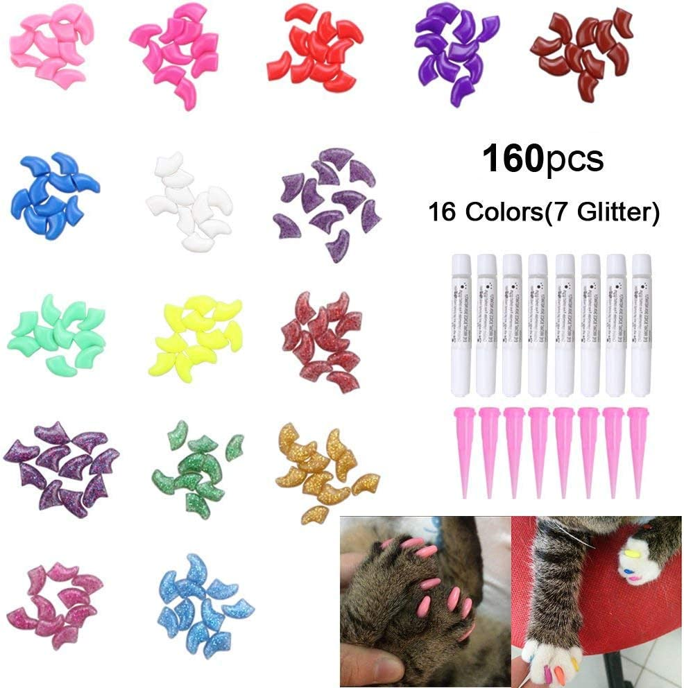 160Pcs Pet Nail Caps, OWUDE Soft Cat Paws Grooming Claws Control Covers, 9 Colorful Kitten Nails Caps + 7 Glitter Colors + 8Pcs Adhesive Glue + 8Pcs Applicator with Instructions 61jqBa2BnEPL