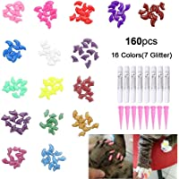 160Pcs Pet Nail Caps, OWUDE Soft Cat Paws Grooming Claws Control Covers, 9 Colorful Kitten Nails Caps + 7 Glitter Colors + 8Pcs Adhesive Glue + 8Pcs Applicator with Instructions (Medium)