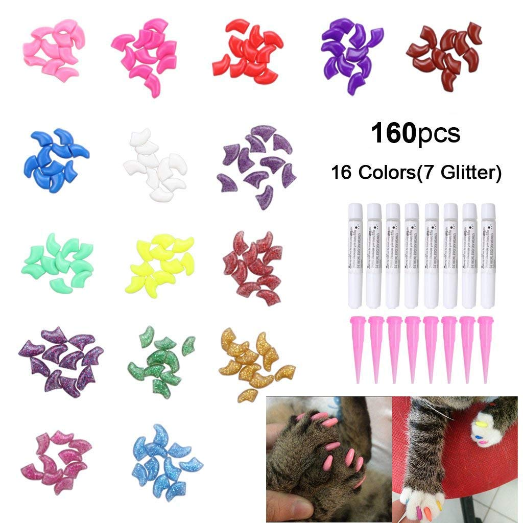OWUDE 160Pcs Pet Nail Caps, Soft Cat Paws Grooming Claws Control Covers, 9 Colorful Kitten Nails Caps + 7 Glitter Colors + 8Pcs Adhesive Glue + 8Pcs Applicator Instructions (Small)