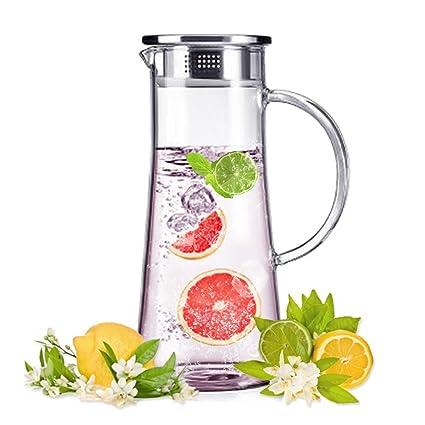 Jarra de Agua Cristal 1.5L, Jarras Para Agua de Borosilicato sin Plomo, Jarra de Vidrio con Tapa de Acero Inoxidable e infusor, Agua Fría, Bebidas ...