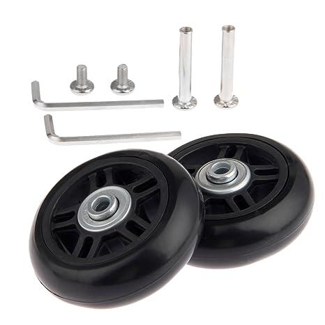 Mtsooning - Juego de 2 ruedas de maleta (70 x 22 mm) de repuesto, con ejes, rodamientos y llaves