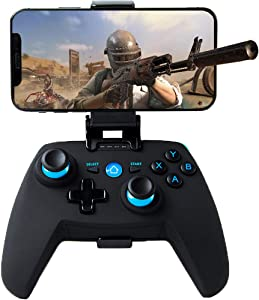 Mando para Android/PC/PS3/TV Inalámbrico, Maegoo Bluetooth Android Móvil Mando con Soporte Retráctil, 2.4G Inalámbrico PC/PS3/TV Mando Gamepad Joystick con Doble Vibración